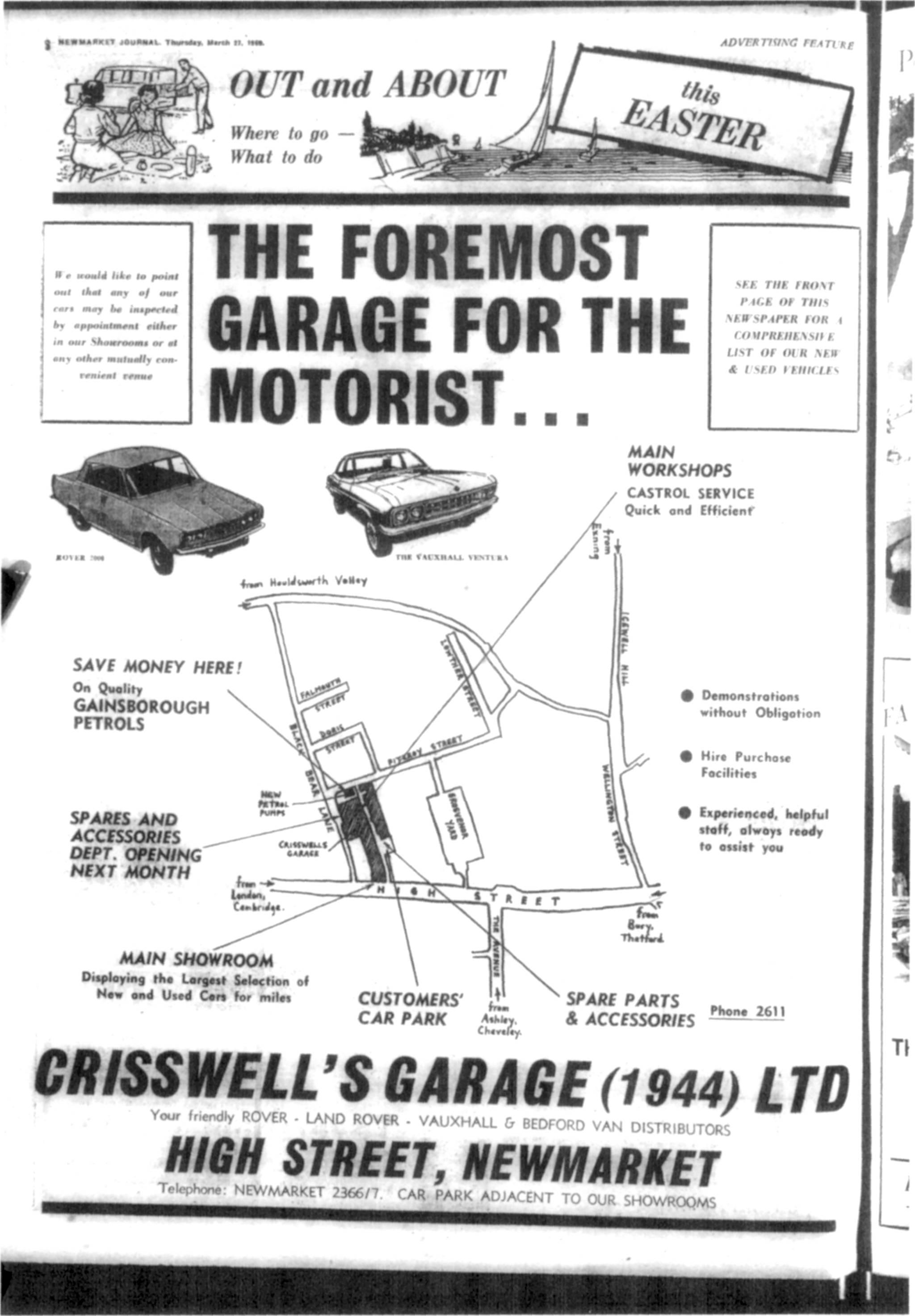 Crisswells Garage Advert Th March